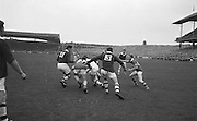 Players group around Westmeath goalie in attempt to grab the ball during the All Ireland Minor Gaelic Football Final Kerry v. Westmeath in Croke Park on the 22nd September 1963.