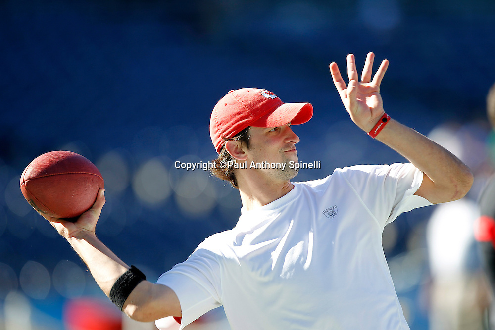 Kansas City Chiefs quarterback Brodie Croyle (12) throws a pregame pass during the NFL week 14 football game against the San Diego Chargers on Sunday, December 12, 2010 in San Diego, California. The Chargers won the game 31-0. (©Paul Anthony Spinelli)