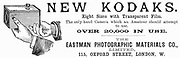 Advertisement for Kodak cameras from 'The Illustrated London News', 20 September 1890. From 1888 the Kodak box camera took Eastman's coated paper roll film. Engraving.