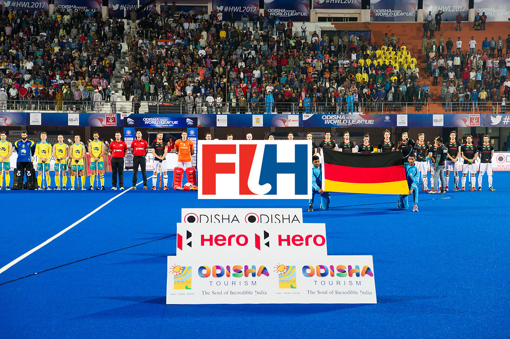 Odisha Men's Hockey World League Final Bhubaneswar 2017<br /> Match id:05<br /> 05 GER v AUS (Pool B)<br /> Foto: line up with boarding.<br /> WORLDSPORTPICS COPYRIGHT FRANK UIJLENBROEK