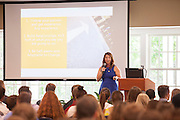 A College of Business alumna tells incoming freshmen about her journey that led up to her employment at Microsoft in Nelson Commons, on Satuday, August 25, 2015. Photo by Kaitlin Owens