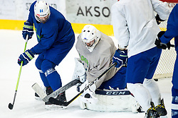 Andrej Hebar and Gasper Kroselj at first practice of Slovenian National Ice Hockey team before IIHF Ice Hockey World Championship Division I Group A in Budapest, on April 17, 2018 in Ledena dvorana, Bled, Slovenia. Slovenia. Photo by Matic Klansek Velej / Sportida