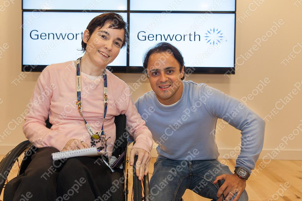 Genworth Employee Michelle Organ from Ennistymon meeting Formula One Driver Felipe Massa