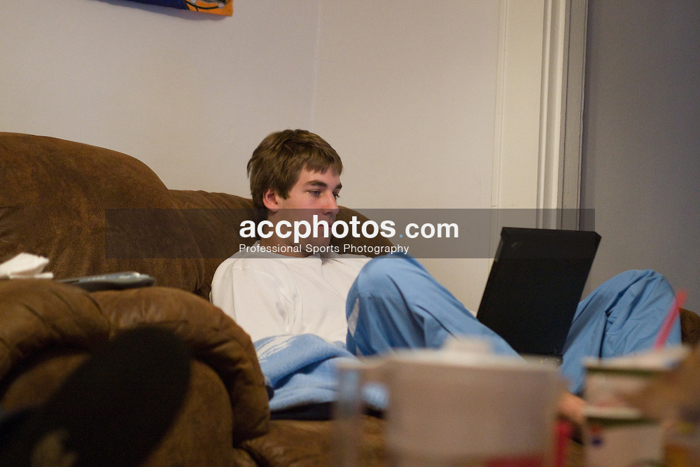 13 January 2008: North Carolina Tar Heels junior Ben Hunt at the McDade Street house in Chapel Hill, NC.