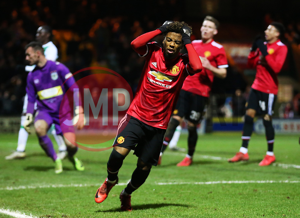 Angel Gomes of Manchester United reacts after missing a chance - Rogan/JMP - 26/01/2018 - FOOTBALL - Huish Park - Yeovil, England - Yeovil Town v Manchester United - FA Cup Fourth Round.
