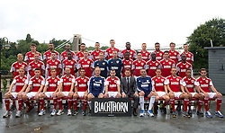 Bristol City line up for their team photo with Blackthorn squad number winner Craig Kenna (Back row l-r; Chris Abbott, Liam Fontaine, Marvin Elliot, Derrick Williams, James Wilson, Aden Flint, Jay Emmanuel-Thomas, Ryan Taylor, Aaron Amdi-Holloway, Luke Dobie, Mitch Brundle. Middle row l-r; Rhys Jordan, Scott Wagstaff, Brendan Moloney, Jordan Wynter, Stephen Pearson, Frankie Fielding, Elliot Parish, Kevin Krans, Greg Cunningham, Albert Adomah,  Jack Batten, Toby Ajala. Front row l-r: Tom King, Wes Burns, Joe Bryan, Louis Carey, Sam Baldock, Sean O'Driscoll, Craig Kenna, Andy Cross, John Pemberton, Neil Kilkenny, Liam Kelly, Bobby Reid, Lewis Hall) - Photo mandatory by-line: Kieran McManus/JMP - Tel: Mobile: 07966 386802 31/07/2013 - SPORT - FOOTBALL - Avon Gorge Hotel - Clifton Suspension bridge - Bristol -  Team Photo