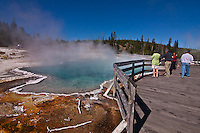 Colorful algae and bacteria grows around Black Pool at West Thumb. Yellowstone National Park.  Wyoming, USA.
