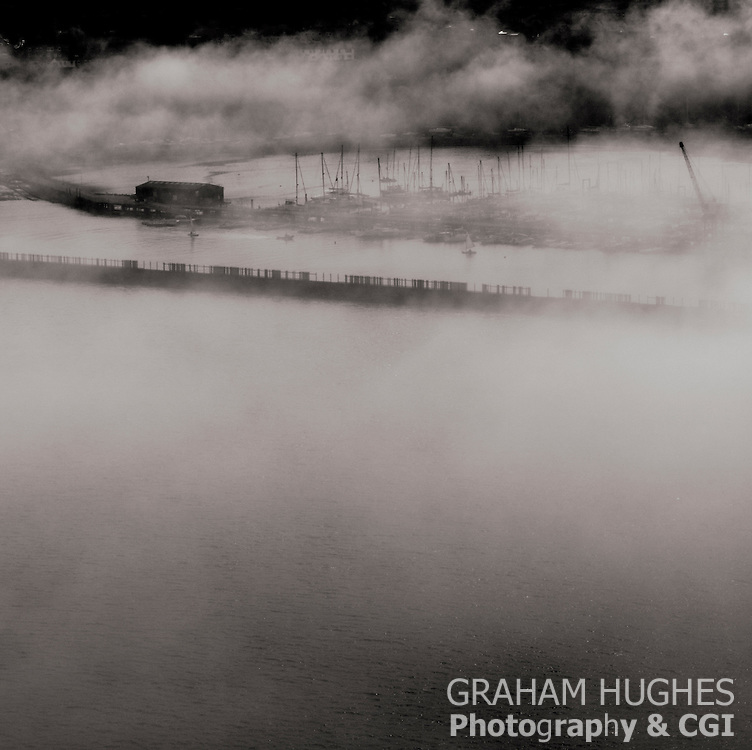 South Queensferry Harbour in fog.