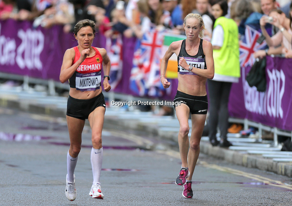 Athletics, London 2012 Olympic Games, The Mall, London, England 5/8/2012 <br /> Women's Marathon<br /> New Zealand's Kim Smith<br /> Mandatory Credit &copy;INPHO/Morgan Treacy *** Local Caption ***