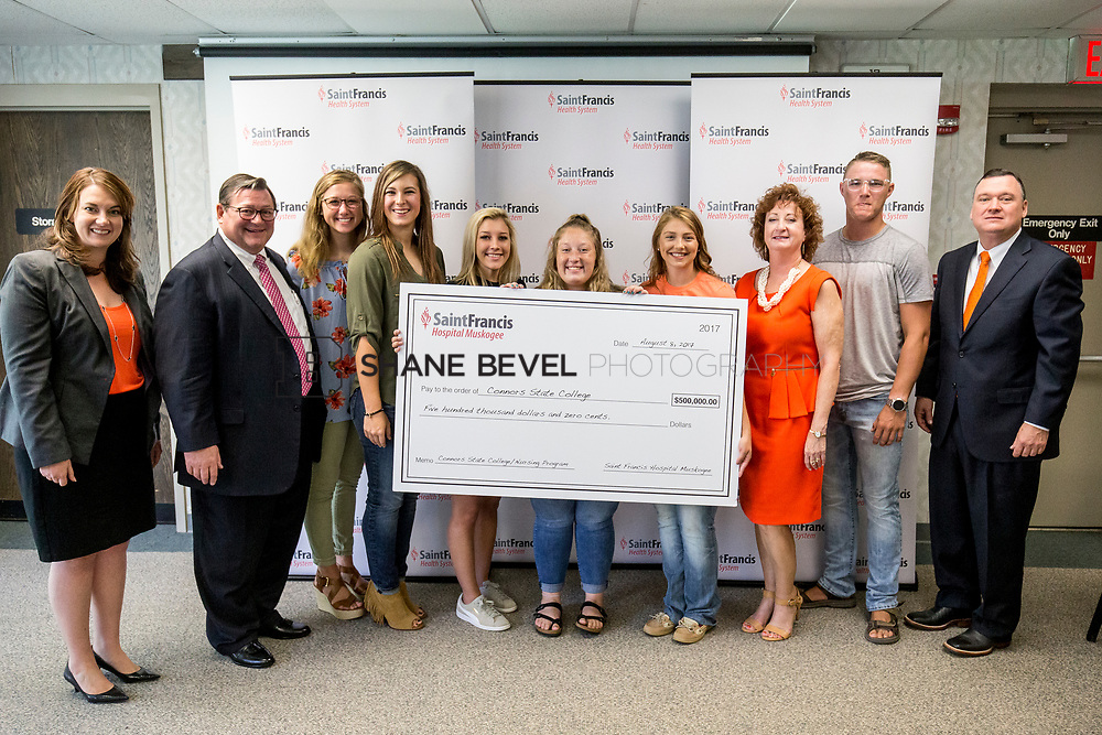 8/8/17 10:24:00 AM --  Saint Francis Health System presents a check to Connors State for their nursing school. <br /> <br /> Photo by Shane Bevel