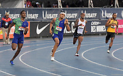 Jul 25, 2019; Des Moines, IA, USA; Michael Cherry, Michael Norman, Tony McQuay and Mar'yea Harris run in a 400m heat during the USATF Championships at Drake Stadium. Norman won in 44.81 for the top time.