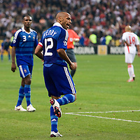 14 October 2008: French forward Thierry Henry #12 reacts after scoring a first goal during the friendly football match won 3-1 by France over Tunisia on October 14, 2008, at the Stade de France in Saint-Denis, near Paris, France.