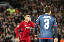 October 24, 2018 - Liverpool, England, United Kingdom - Liverpool forward Roberto Firmino (9) celebrates after scoring his goal during the Uefa Champions League Group Stage football match n.3 LIVERPOOL - CRVENA ZVEZDA on 24/10/2018 at the Anfield Road in Liverpool, England. (Credit Image: © Matteo Bottanelli/NurPhoto via ZUMA Press)