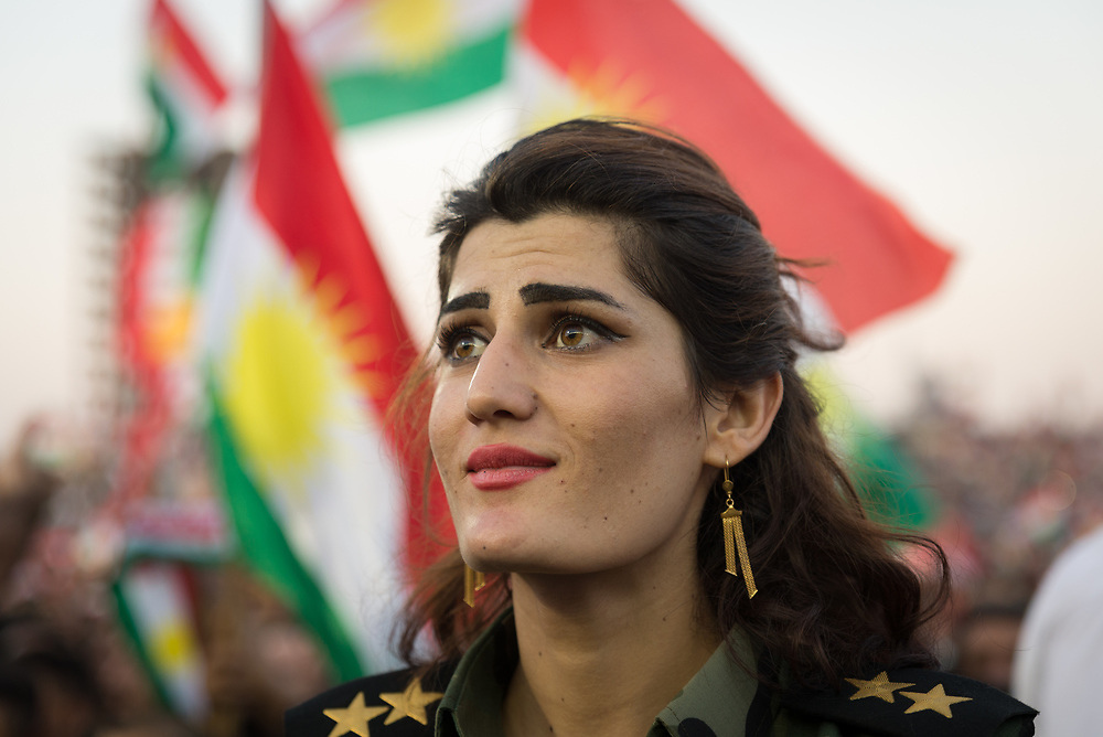 100,000 people attended a pro-independence rally in Erbil on Friday ahead of the Kurdish referendum on independence scheduled for Monday, September 25, 2017.