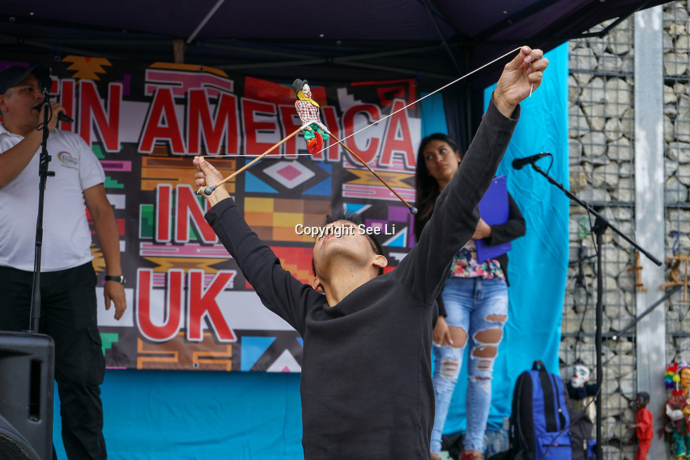 London, UK. 4th August 2017. Jose Navarro Theatre preforms at The 6th annual LATIN American Carnival Newham. A Latin American summer festival party with live music, delicious food & drinks and barbecue of Latino community and to show the vibrant of Latin culture at West Ham.