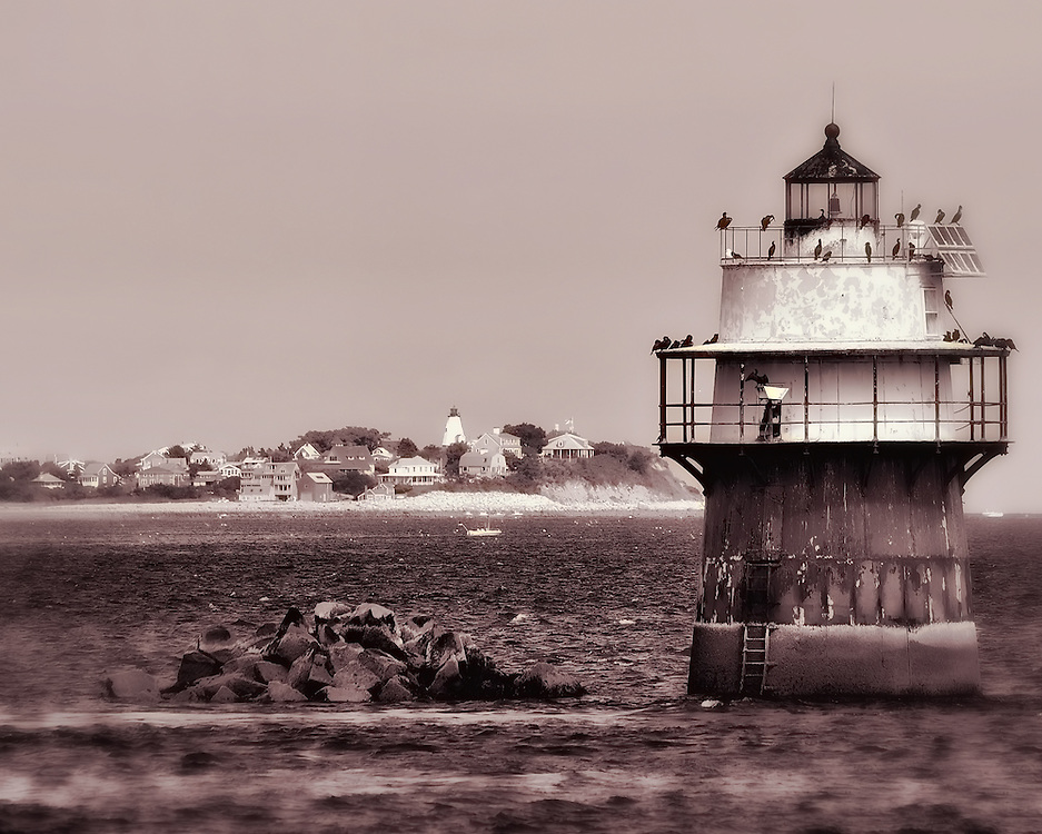 The Bug Light in Plymouth Harbor. Saquish can be seen in the background.
