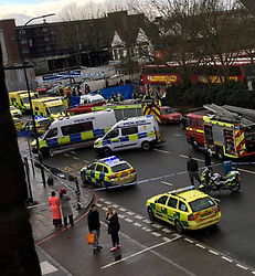 Bromley,Lewisham Sunday 26 February 2017 : Five people have been taken to hospital after a car ploughed into pedestrians in south London.<br /> The incident happened near Catford Bus Garage in Bellingham this morning when the car left the road and crashed into a wall.<br /> <br /> A number of pedestrians were hurt and the road is closed while police investigate.<br /> <br /> <br /> The incident happened on this road near Catford Bus Garage in Bellingham this morning<br /> <br /> Witness Jonathan Brown wrote on Facebook: 'Big car crash on Bromley Road... tons of police, ambulances, even helicopter landed in PC world... one person trapped under a car and two others injured.... at the car wash... my thought and prayers are with them.&rsquo; &copy;UKNIP