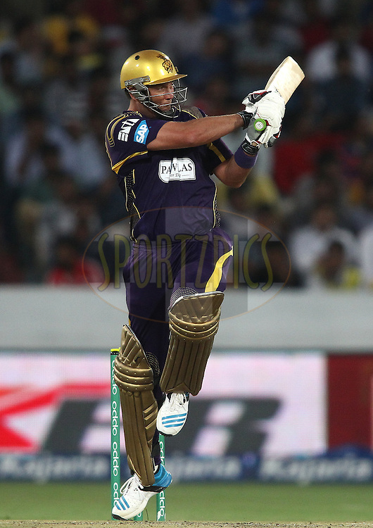 Jacques Kallis of the Kolkata Knight Riders pulls a delivery through the leg side during the first semi final match of the Oppo Champions League Twenty20 between the Kolkata Knight Riders and the Hobart Hurricanes held at the Rajiv Gandhi Cricket Stadium, Hyderabad, India on the 2nd October 2014<br /> <br /> Photo by:  Shaun Roy / Sportzpics/ CLT20<br /> <br /> <br /> Image use is subject to the terms and conditions as laid out by the BCCI/ CLT20.  The terms and conditions can be downloaded here:<br /> <br /> http://sportzpics.photoshelter.com/gallery/CLT20-Image-Terms-and-Conditions-2014/G0000IfNJn535VPU/C0000QhhKadWcjYs