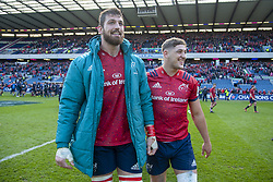 March 30, 2019 - Edinburgh, Scotland, United Kingdom - Jean Kleyn and Dan Goggin of Munster celebrate during the Heineken Champions Cup Quarter Final match between Edinburgh Rugby and Munster Rugby at Murrayfield Stadium in Edinburgh, Scotland, United Kingdom on March 30, 2019  (Credit Image: © Andrew Surma/NurPhoto via ZUMA Press)
