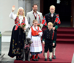 Crown Prince Haakon, and Crown Princess Mette-Marit of Norway, with there children, Princess Ingrid Alexandra, and Prince Sverre Magnus, and Mette's son Marius, and Family Dog, Milly Kakao, celebrate Norway National Day at The Crown Prince couples residence, Skaugum, in Asker, near Oslo, Norway. May 17, 2013. Photo by: Schneider-Press / i-Images. UK & USA ONLY