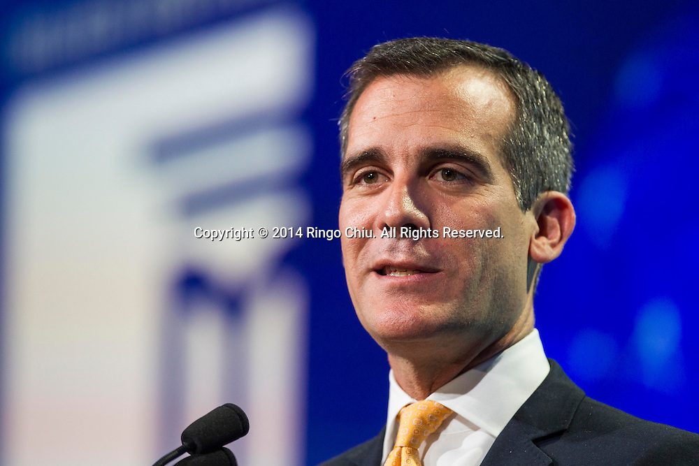 Eric Garcetti, mayor of City of Los Angeles, speaks in a lunch program during the Milken Institute Global Conference on Monday, April 28, 2014 in Beverly Hills, California. (Photo by Ringo Chiu/PHOTOFORMULA.com)