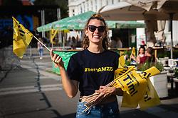 Sponsor girl with flags before sprejem Tima Gajsreja, on Avgust 27, 2019 in Maribor, Slovenia. Photo by Blaž Weindorfer / Sportida