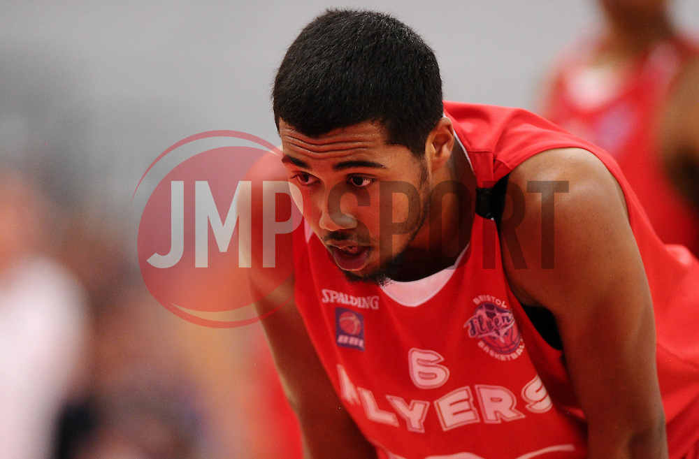 Bristol Flyers' Dwayne Lautier-Ogunleye prepares for a free throw  - Photo mandatory by-line: Joe Meredith/JMP - Mobile: 07966 386802 - 11/04/2015 - SPORT - Basketball - Bristol - SGS Wise Campus - Bristol Flyers v Glasgow Rocks - British Basketball League