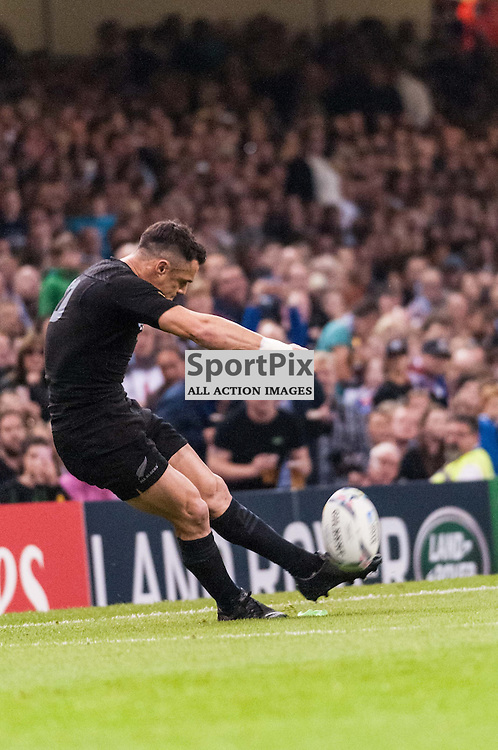 All Black Dan Carter kicks at goal. Action from the New Zealand v Georgia game in Pool C of the 2015 Rugby World Cup at Milennium Stadium in Cardiff, 2 October 2015. (c) Paul J Roberts / Sportpix.org.uk