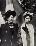 Emmeline Pankhurst (1857-1928) English suffragette, founder of Women's Franchise League (1889) and, in 1903 with her daughter Christabel (1880-1958) pictured with her, founder of the Women's Social and Political Union.