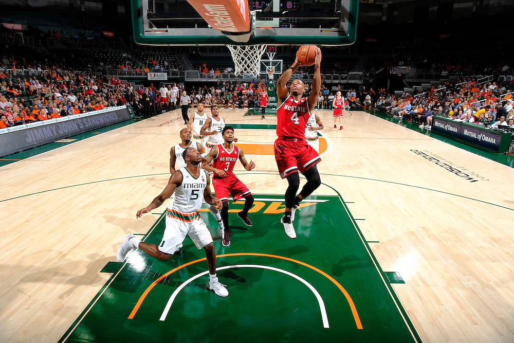 December 31, 2016: Dennis Smith, Jr. #0 of North Carolina State in action during the NCAA basketball game between the Miami Hurricanes and the North Carolina State Wolfpack in Coral Gables, Florida. The 'Canes defeated the Wolfpack 81-63.