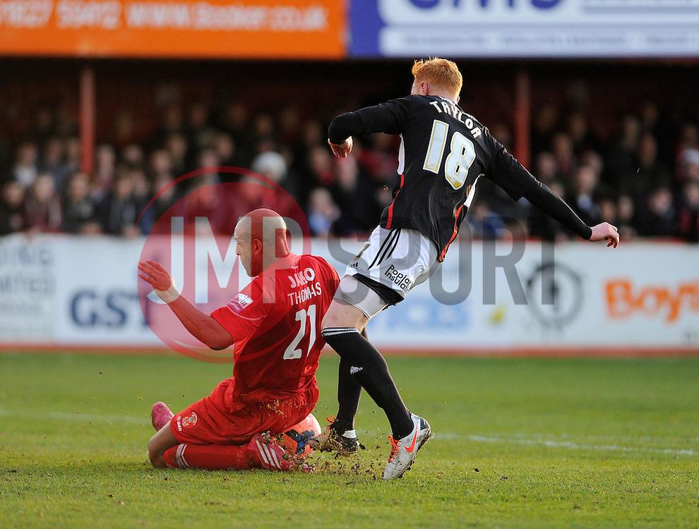 Tamworth's Wayne Thomas blocks Bristol City's Ryan Taylor shots - Photo mandatory by-line: Dougie Allward/JMP - Tel: Mobile: 07966 386802 08/12/2013 - SPORT - Football - Tamworth - The Lamb Ground - Tamworth v Bristol City - FA Cup - Second Round