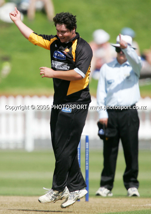 Wellington Firebirds bowler Jesse Ryder celebrates after umpire Evan Watkins gives an LBW decision during the State Shield semi final between the State Wellington Firebirds and the State Auckland Aces held at the Basin Reserve in Wellington, New Zealand on Tuesday, 6 February, 2007. Photo: Tim Hales/PHOTOSPORT