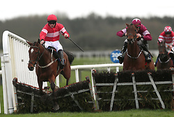 Saglawy ridden by Paul Townend (left) clears the last on the way to winning the BoyleSports Juvenile Hurdle during The Easter Tuesday Meeting at Fairyhouse, Ratoath.