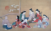 A Musical Party'. Ink and gofun on silk.  Hishikawa Moronobu (1618-1694) Japanese painter and printmaker.