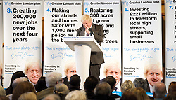 Boris Johnson <br /> Mayor of London election campaign launch in Richmond, Surrey, Great Britain  <br /> 10th April 2012 <br /> <br /> Boris Johnson <br /> Mayor of London <br /> (introduced by Zac Goldsmith MP for Richmond) <br /> <br /> <br /> Photograph by Elliott Franks