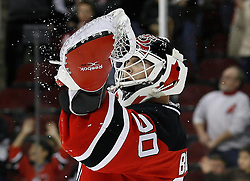 Feb 26, 2009; Newark, NJ, USA; New Jersey Devils goalie Martin Brodeur (30) catches the puck at the final horn at the Prudential Center. The Devils defeated the Avalanche 4-0.