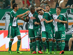 08.08.2013, Gerhard Hanappi Stadion, Wien, AUT, UEFA EL Qualifikation, SK Rapid Wien vs Asteras Tripolis, im Bild Torjubel Branko Boskovic, (SK Rapid Wien, #32), Terrence Boyd, (SK Rapid Wien, #9), Thanos Petsos, (SK Rapid Wien, #5), Guido Burgstaller, (SK Rapid Wien, #30) und Marcel Sabitzer, (SK Rapid Wien, #24)  // during a UEFA Europa League Qualifier game between SK Rapid Vienna and Asteras Tripolis at the Gerhard Hanappi Stadion, Wien, Austria on 2013/08/08. EXPA Pictures © 2013, PhotoCredit: EXPA/ Thomas Haumer
