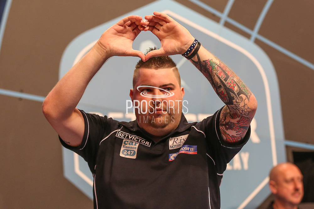 Michael Smith takes the stage ahead of his match against Gerwyn Priceduring the First Round of the BetVictor World Matchplay Darts at the Empress Ballroom, Blackpool, United Kingdom on 19 July 2015. Photo by Shane Healey.
