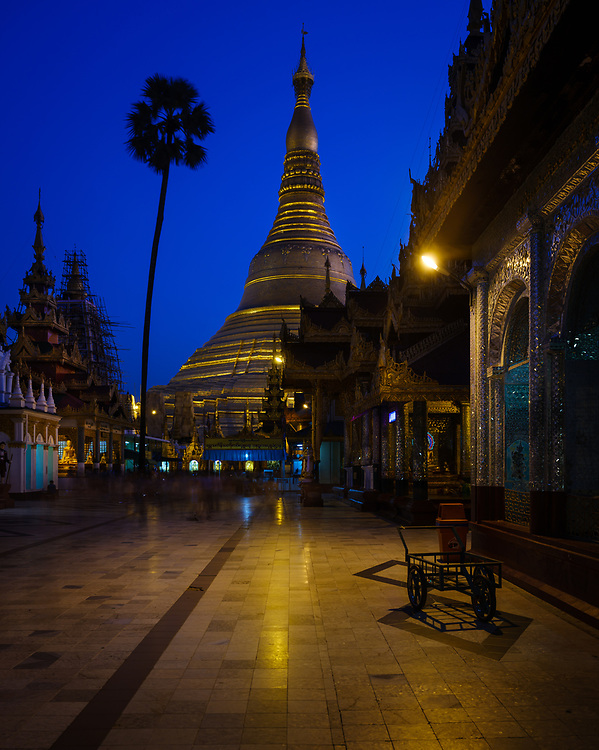YANGON, MYANMAR - CIRCA DECEMBER 2017: Shwedagon Pagoda in Yangon at night