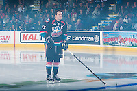 KELOWNA, CANADA - SEPTEMBER 24: Rodney Southam #17 of the Kelowna Rockets enters the ice against the Kamloops Blazers on September 24, 2016 at Prospera Place in Kelowna, British Columbia, Canada.  (Photo by Marissa Baecker/Shoot the Breeze)  *** Local Caption *** Rodney Southam;