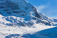 Mount Athabasca 3,491 m (11,453 ft) from the glacial plain of the Sunwapta River, Jasper National Park Alberta Canada