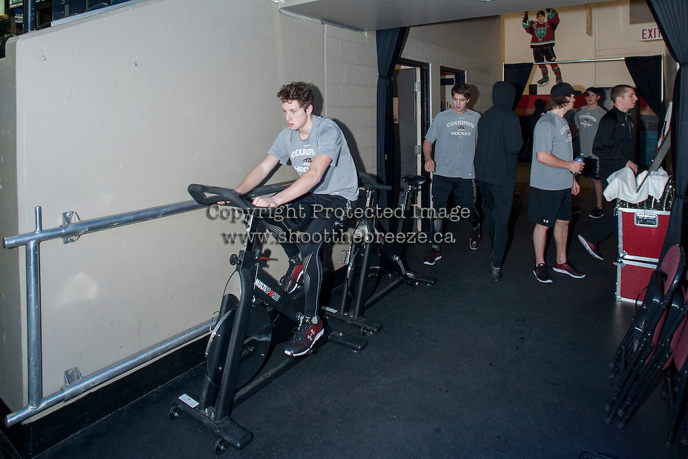 KELOWNA, CANADA - DECEMBER 5: Prince George Cougars' players prepare for the game against the Kelowna Rockets on December 5, 2014 at Prospera Place in Kelowna, British Columbia, Canada.  (Photo by Marissa Baecker/Shoot the Breeze)  *** Local Caption ***