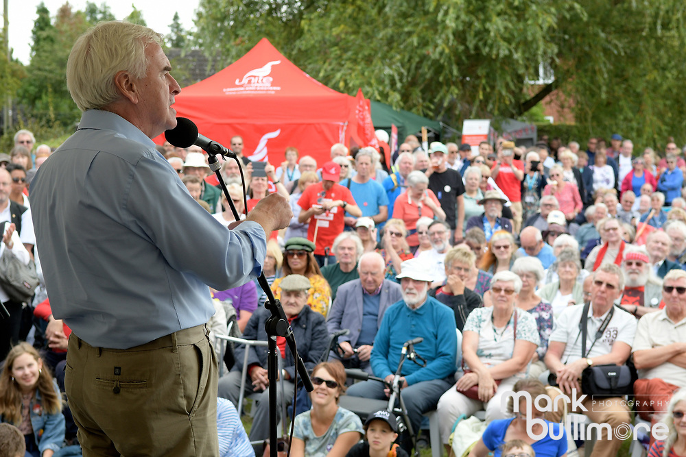 Burston, Norfolk. Burst Strike School Rally. John McDonnell MP Shadow Chancellor talking on the stage. <br /> <br /> Picture: MARK BULLIMORE