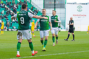 Marc McNulty (#9) of Hibernian FC celebrates with Daryl Horgan (#7) of Hibernian FC after scoring Hibs third goal during the William Hill Scottish Cup match between Hibernian FC and Raith Rovers FC at Easter Road Stadium, Edinburgh, Scotland on 9 February 2019.