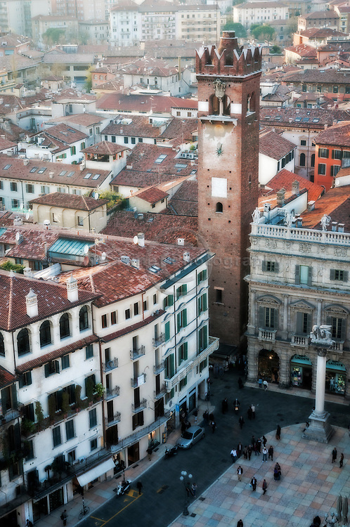 The Piazza delle Erbe seen from the Lamberti Tower, Verona Italy.