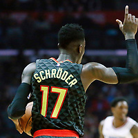 08 January 2018: Atlanta Hawks guard Dennis Schroder (17) brings the ball up court during the LA Clippers 108-107 victory over the Atlanta Hawks, at the Staples Center, Los Angeles, California, USA.