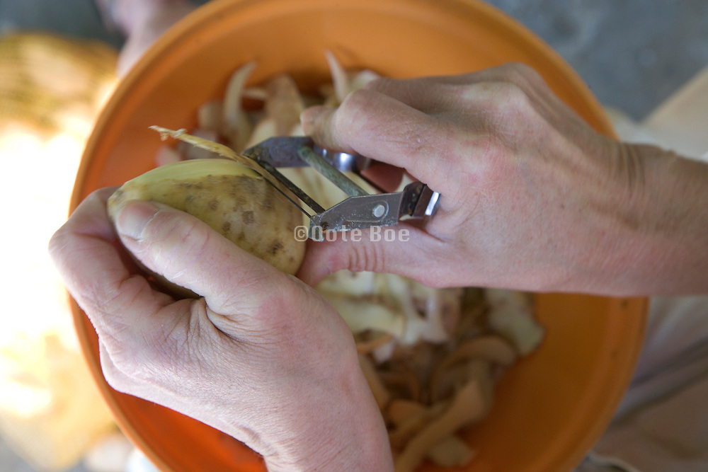 woman hand peeling potatoes with a peeler
