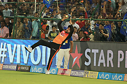 April 29, 2018 - Jaipur, Rajasthan, India - Sunrisers  Hyderabad player Manish Pandey saves boundary  during the IPL T20 match against Rajasthan Royals at Sawai Mansingh Stadium in Jaipur on 29th April,2018. (Credit Image: © Vishal Bhatnagar/NurPhoto via ZUMA Press)