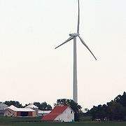 Power generating wind turbine near Bloomington, in central Illinois<br />