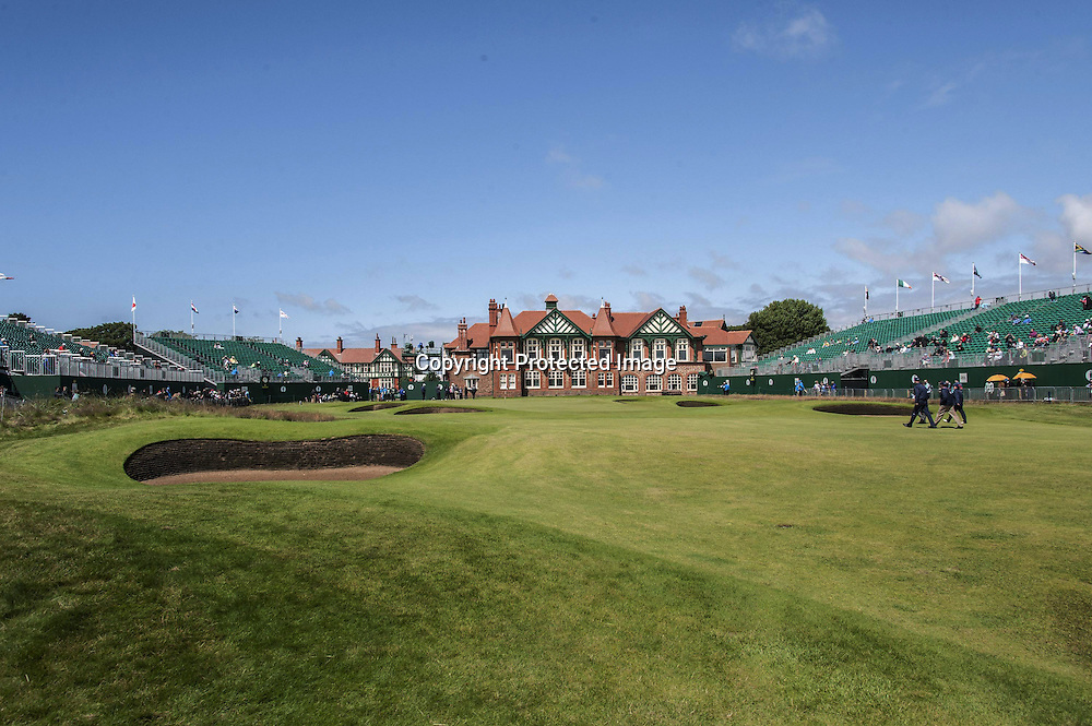 18-07-2012 European Tour 2012, THE 141st OPEN Championship, Royal Lytham & St. Annes GC, Lytham St. Annes, Lancashire, England, UK. 15- 22 Jul. A general view at the green 18th, grandstands and the clubhouse.